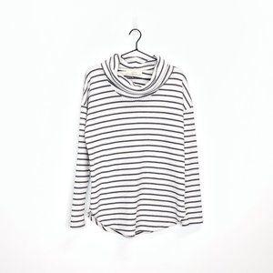 Loft Striped Waffle Knit Cowl Neck Top Long Sleeve
